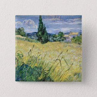 Landschaft Vincent van Goghs | mit grünem Mais, Quadratischer Button 5,1 Cm