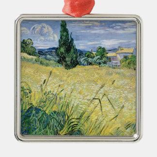 Landschaft Vincent van Goghs | mit grünem Mais, Quadratisches Silberfarbenes Ornament