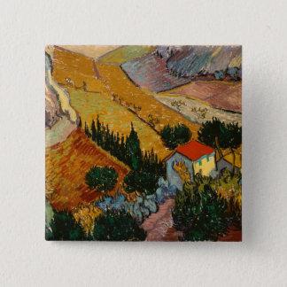 Landschaft Vincent van Goghs   mit Haus u. Quadratischer Button 5,1 Cm
