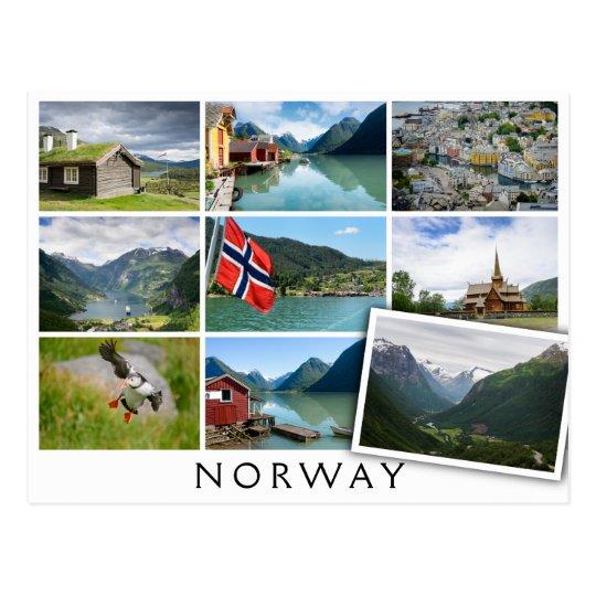 """Landschaften und der Text: """"Norwegen"""" in der Postkarte"""