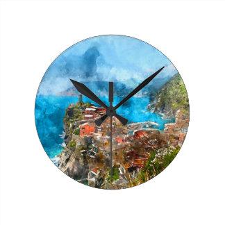 Landschaftliche Ansicht des bunten Dorfs Vernazza Runde Wanduhr