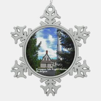 Landschaftliches Michigan Schneeflocken Zinn-Ornament