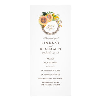 Landschafts-Sonnenblume-Kranz-Hochzeits-Programme Werbekarte