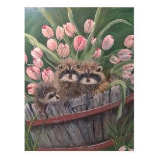 Landschaftsfarbenmalereihandkunst-Natur Racoons Postkarte