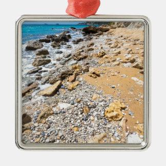 Landschaftsfelsige Küste Kefalonia Griechenland Silbernes Ornament