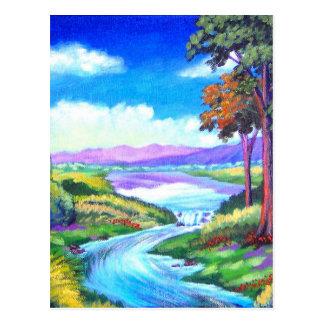 Landschaftsfluss-Malerei-Kunst - multi Postkarte