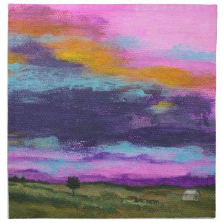 Landschaftskunst, die rosa Sonnenuntergang-kleines Stoffserviette