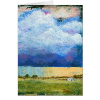 Landschaftskunst-Malerei-Haus-Regen-Sturm-Wolken Karte