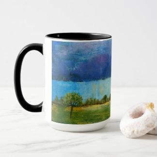 Landschaftskunst-Malerei-Haus-Regen-Sturm-Wolken Tasse
