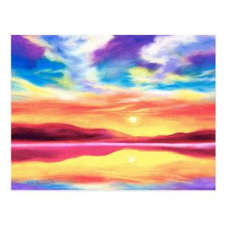 Landschaftsunset See-Szene - multi Postkarte