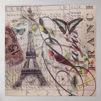 Landschmetterling Paris-Eiffelturm des Skriptes Poster