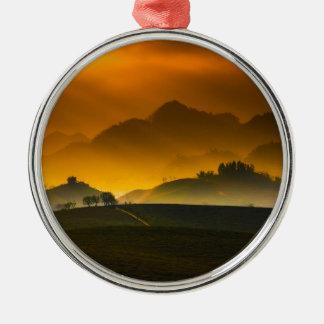 Landsonnenuntergang Silbernes Ornament