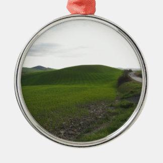 Landstraße über dem Rollen der grünen Hügel und Silbernes Ornament