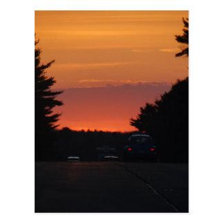 Landstraßen-Sonnenuntergang klar Postkarte