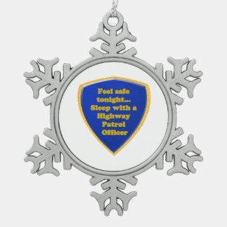 Landstraßen-Streifenpolizist Schneeflocken Zinn-Ornament