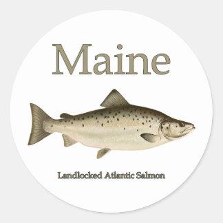 Landumschlossene Lachse Maines Runder Aufkleber