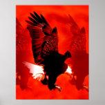 Landungs-Eagle-Plakat-Druck - rote Eagle-Plakate