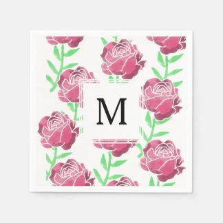 Landwatercolor-Rosen, die Servietten Wedding sind