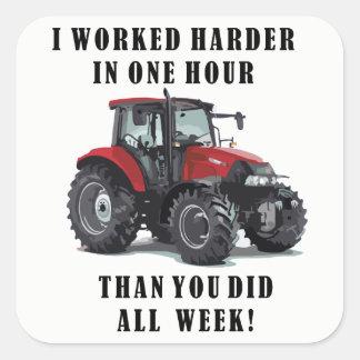 Landwirtschaft von harte Arbeits-Zitaten Quadratischer Aufkleber