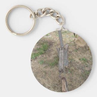 Landwirtschaftlicher alter hölzerner Pflug aus den Schlüsselanhänger