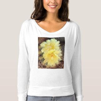 Lange Hülse Flowy T-Shirt Gelb-Kaktus-Blume