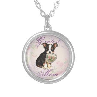Lange Mantel-Chihuahua-Herz-Mamma Versilberte Kette