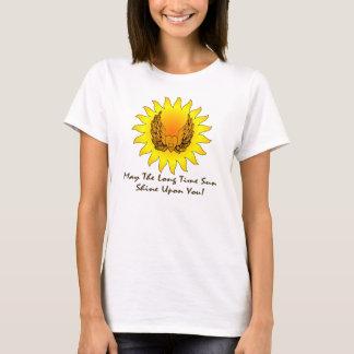 Lange Zeit-Sun Winged Herz-dunkle Beschriftung T-Shirt