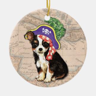 Langer Mantel-Chihuahua-Pirat Keramik Ornament