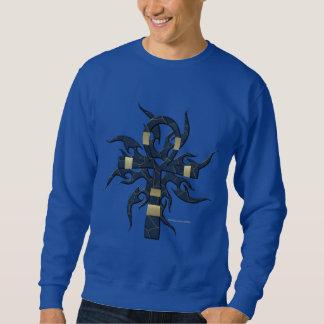 Langes die Hülsen-Shirt blauer GoldAnkh Männer Sweatshirt