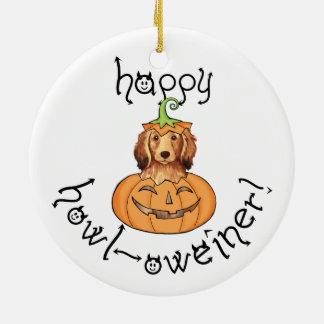 Langhaarige Dackel Halloweens Keramik Ornament