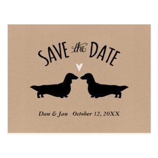 Langhaarige Dackeln, die Save the Date Wedding Postkarte