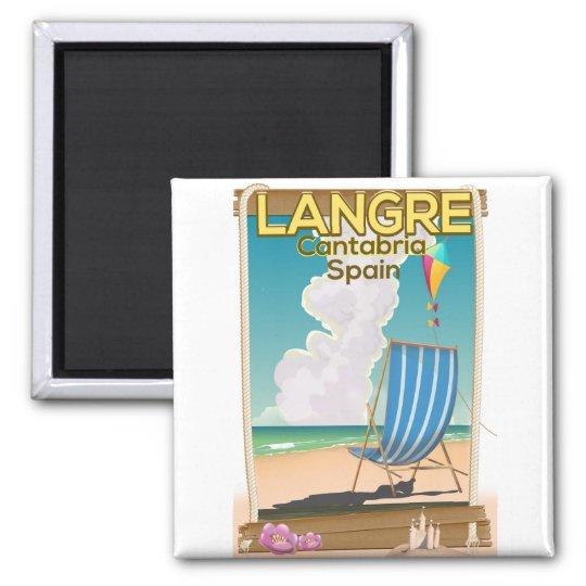 Langre, Strandplakat Kantabriens Spanien Quadratischer Magnet
