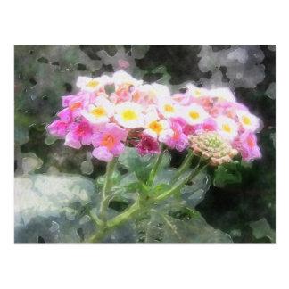Lantana-Blumen2 Watercolor Postkarte