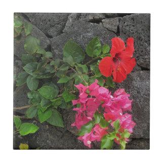 Lanzarote-Lava-Felsen mit Blumen Fliese
