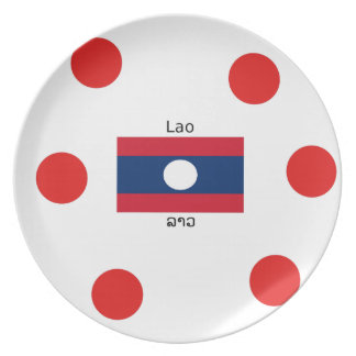Lao-(laotianische) Sprache und Laos-Flagge Teller
