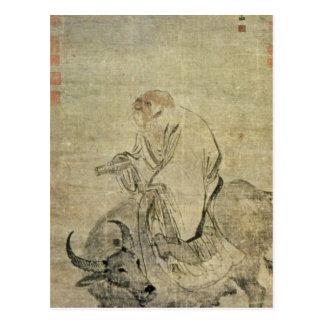 Lao-tzu, der seinen Ochsen, Chinesen, Postkarte