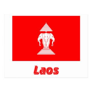 Laos-Flagge mit Namen (1952-1975) Postkarte