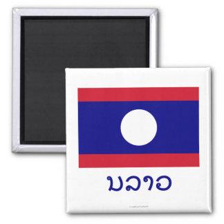 Laos-Flagge mit Namen auf Lao Quadratischer Magnet
