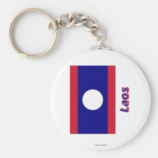 Laos-Flagge mit Namen Standard Runder Schlüsselanhänger