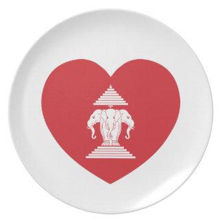 Laotianer Erawan 3 ging Elefant-Herz-Flagge voran Melaminteller
