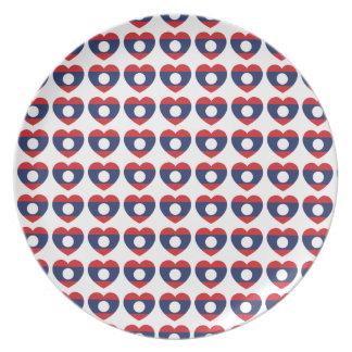 Laotianische Herz-Flagge Teller