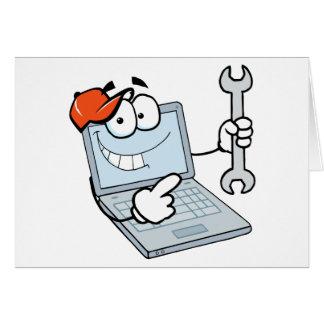 Laptop-Cartoon-Charakter, der einen Schlüssel hält Grußkarte
