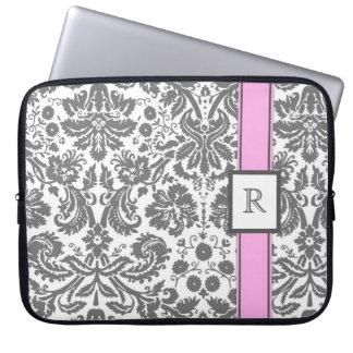 Laptop-kundenspezifisches Monogramm-grauer rosa Bl Laptop Sleeve Schutzhüllen