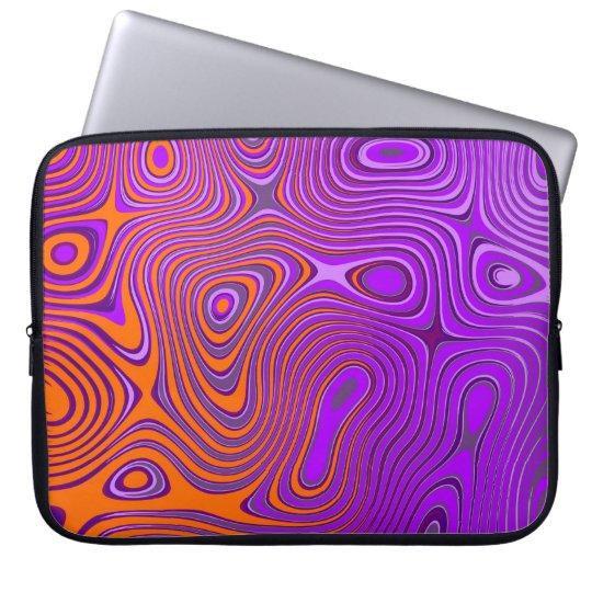 Laptop Tasche mit Psycho Muster orange/pink