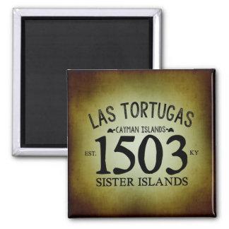 Las Tortugas EST. 1503 rustikal Quadratischer Magnet