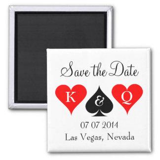 Las Vegas, das Save the Date Magneten mit Herzen Quadratischer Magnet