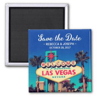 Las Vegas, das Save the Date Retro Foto Wedding Quadratischer Magnet