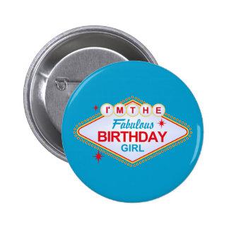 Las Vegas-Geburtstags-Mädchen Runder Button 5,1 Cm
