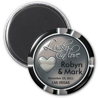 Las Vegas-Jungvermählten-Kasino-Chip-Magnet-Bevorz Runder Magnet 5,7 Cm