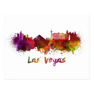 Las Vegas skyline im Watercolor Postkarte